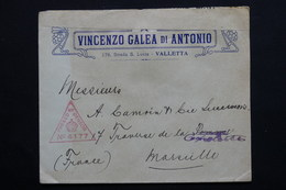 MALTE - Enveloppe De Valletta Pour Marseille En 1917 , Contrôle Postal -  L 20968 - Malte