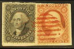 1857-61 12c Grey Black SG 40, Scott 36, Together With 3c On A Piece Tied By Neat Red Barred Cancel. For More Images, Ple - United States