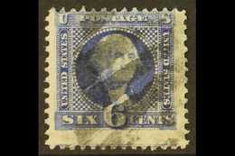 1869 6c Ultramarine Washington Pictorial, SG 117, Scott 115, Centered To Top, Neat Barred Cancel.  For More Images, Plea - United States