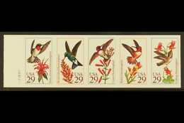 1992 IMPERF PROOF BOOKLET PANE 9c Hummingbirds Imperf Proof Booklet Pane Of Five In Finished Design, Scott 2646aPi, With - United States