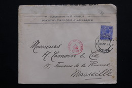 MALTE - Enveloppe De Valletta Pour Marseille En 1915 , Contrôle Postal -  L 20969 - Malte