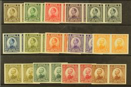 1921 King Complete Imperf Set, Michel 145/58 U (as SG 164/77), Superb Never Hinged Mint Horiz IMPERF PAIRS, Very Fresh.  - Yougoslavie