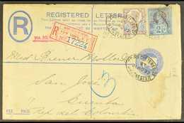 POSTAL HISTORY 1897 (20 Nov) 2d Registered Stationery Envelope, Franked QV 5d & 2½d Perfin Stamps, Sent From Manchester  - 1840-1901 (Victoria)