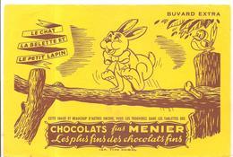 Buvard MENIER Chocolats Fins MENIER LE CHAT LA BELETTE ET LE PETIT LAPIN - Chocolat