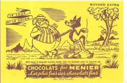 Buvard MENIER Chocolats Fins MENIER LE LOUP ET LE CHIEN - Chocolat