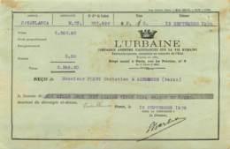 """PARIS AGENCE DE CASABLANCA 1926 - RECU DE LA CIE ASSURANCE DU GROUPE DES """"URBAINE"""" - France"""