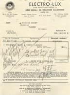 TARGON 1935 - FACTURE ELECTRO-LUX - PARIS - France