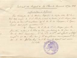 PAU 1916 - EXTRAIT DE RAPPORT AVEC CACHET DE L'HÔPITAL COMPLEMENTAIRE N° 34 - AFFECTATION D'OFFICIERS - 1914-18