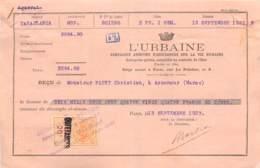 """PARIS AGENCE DE CASABLANCA 1923-QUITTANCE DE LA CIE ASSURANCE DU GROUPE DES """"URBAINE"""" AVEC TIMBRE FISCAL MAROC SURCHARGE - France"""