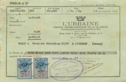 """PARIS AGENCE DE CASABLANCA 1925-QUITTANCE ASSURANCE DU GROUPE DES """"URBAINE"""" AVEC 2 TIMBRES FISCAUX MAROC - France"""