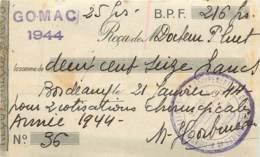 RECU DE GOMAC - 21/01/1944 - RECU AVEC CACHET DU GROUPEMENT DES OFFICIERS MILITAIRES ET ANCIENS COMBATTANTS - France
