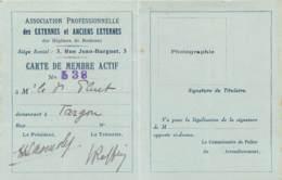 1927 TARGON - CARTE DU EXTERNES ET ANCIENS EXTERNES DES HOPITAUX DE BORDEAUX - Historical Documents