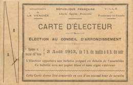 1913 - FONTENAY LE COMTE - CARTE D'ELECTEUR 03/08/1913 - Historical Documents