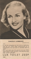 Nederlands Indië - Filmsterkaart CAROLE LOMBARD (Paramount) - Reklamekaart LUX Toilet Zeep - Nederlandse Tekst - Artiesten