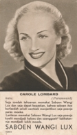 Nederlands Indië - Filmsterkaart CAROLE LOMBARD (Paramount) - Reklamekaart SABOEN WANGI LUX - Maleise Tekst - Artistes
