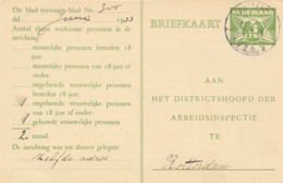 Nederland - 1936 - Langebalk Stempel Rotterdam / RVZB 1 (Sociale Verzekeringsbank) Op Arbeidslijstkaart - Poststempels/ Marcofilie