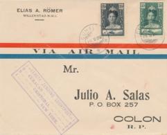 Curacao - 1929 - 20 En 30 Cent Wilhelmina Op 1st Flight Curacao - Cristobal - Met Stempelfout - Error In Cancel - Curaçao, Nederlandse Antillen, Aruba