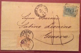 SEGNATASSE 40 C.GENOVA 17/2/1870 SU LETTERA DA FIRENZE  UNA DELLE PRIME DATE D'USO  NOTE A GENOVA - Storia Postale