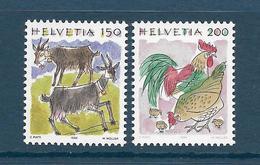Timbres Neufs** De Suisse, N°1459-60 Yt, Animaux, Chèvre, Coq, Poule, Poussins - Neufs