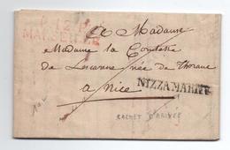 1820 - LETTRE Avec MP PP ROUGE PORT PAYE MARSEILLE Pour NICE -> MARQUE NIZZA MARITT - Marcofilia (sobres)