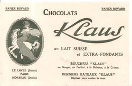 Buvard Klaus Chocolats Klaus Au LAIT SUISSE Et EXTRA-FONDANTS - Chocolat