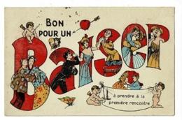 """Carte Illustrée """" Bon Pour Un Baiser à Prendre à La Première Rencontre (couples S'embrassant Sous Les Regards Des Anges) - Anges"""