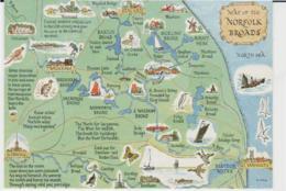 Postcard - Map - Of The Norfolk Broads - Unused  Very Good - Unclassified