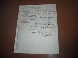 CHIFFONS PEAUX METAUX BAER Frères à VERDUN. LETTRE De 1919 - France