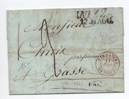 1845 - LETTRE Avec MP NIZZA Pour GRASSE Avec CACHET D'ENTREE ROUGE SARDAIGNE ANTIBES - Marcophilie (Lettres)