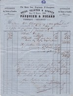 75.Paris. Pasquier & Picard Soies Teintes Et Ecrues Pour  Charpigny  Aire/Adour Janvier  1864 - 1800 – 1899