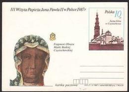 CARTOLINA - 3° Viaggio Del Papa Giovanni Paolo II In Polonia / Madonna: Our Lady Of Czestochowska - 1987 - Polonia