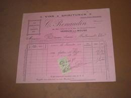 VINS & SPIRITUEUX C. RENAUDIN à VERDUN-SUR-MEUSE. FACTURE De 1910 - France