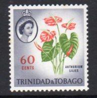 Trinidad & Tobago 1960-7 Definitives 60c Anthurium Lilies Value, MNH, SG 295 - Trinidad & Tobago (...-1961)