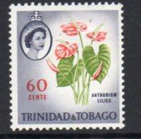 Trinidad & Tobago 1960-7 Definitives 60c Anthurium Lilies Value, Shade - Yellow-green Leaves, MNH, SG 295 - Trinidad & Tobago (...-1961)