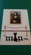 CPM LA JOCONDE MONA LISA REGARDEE PAR DES CHATS CHAT ILLUSTRATRICE JACQUELINE COOPER MUSEUM CATS  ED CARTES D ART - Paintings
