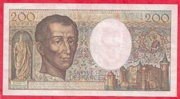 """200 Francs """"Montesquieu"""" 1987 ---VF/SUP-Série  X.045--AUCUN TROU D EPINGLE - 1962-1997 ''Francs''"""