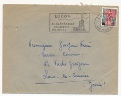Enveloppe - OMEC Secap - LUÇON (Vendée) - Sa Cathédrale / Son Jardin / Dumaine - 1959 - Oblitérations Mécaniques (flammes)