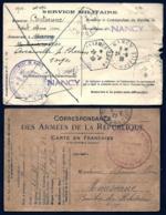 2 CARTES MILITARIA- 2 GUERRES- 1917- 1939- DONT SERVICE DE RECRUTEMENT AVEC REPONSE- 2 SCANS - Militaria