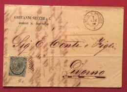 BORGO S.DONNINO D.c.7/6/66 + Punti Su 20/15 Tipo 2 + Timbro Commerciale GIOVANNI SECCHI & C. LETTERA COMPLETA X LIVORNO - Storia Postale