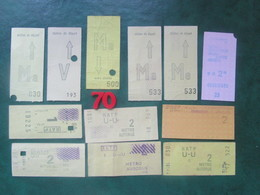 LOT N°33 -  10 TICKETS RATP METRO Urbain De Carte Hebdonadaire -  PARIS Divers  2° Classe  - BE - World