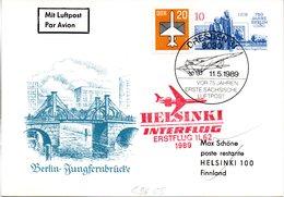 """DDR Amtl.Ganzsache M.priv.Zudruck WSt.""""Berliner Bauten,10Pf.mfg""""P96/C5 ZF """"Erstflug IL62"""" SSt 11.5.89 DRESDEN - Cartes Postales - Oblitérées"""