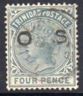 Trinidad QV 1894 4d Grey OS Offical Overprint, Used, SG O4 - Trinidad & Tobago (...-1961)