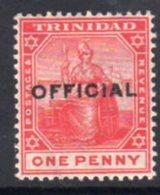 Trinidad 1909 1d Rose-red OFFICIAL Overprint, Hinged Mint, SG O9 - Trinidad & Tobago (...-1961)