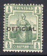Trinidad 1910 ½d Green OFFICIAL Overprint, Heavily Hinged Mint, SG O10 - Trinidad & Tobago (...-1961)