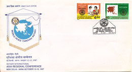 India FDC 14-10-1987 Rotary International Asia Regional Conference New Delhi Complete Set Of 2 With Cachet - Rotary, Lions Club