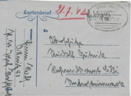 WZ L 1  Feldpost-Kartenbrief Nach Wehrmeldeamt Cilli / Bahnpost Graz-Wies Am 22.  7. . 42 - 1918-1945 1. Republik
