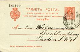 (e1000) Ganzs. Spanien St. Barcelona N. Berlin Buchhandlung 1919 - Entiers Postaux