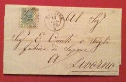 CARRARA D.c. 15/2/69 + Punti Su 20 LETTERA COMPLETA  DI TESTO PER LIVORNO - Storia Postale