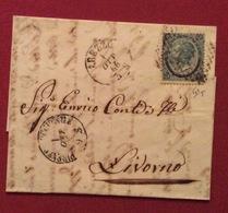 AREZZO 1/10/66 + Punti Su 20/15 Tipo 3  LETTERA COMPLETA  DI TESTO PER LIVORNO - Storia Postale