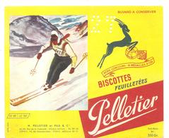Buvard Pelletier Biscottes Pelletier Série Sport N°49 Le Ski - Biscottes